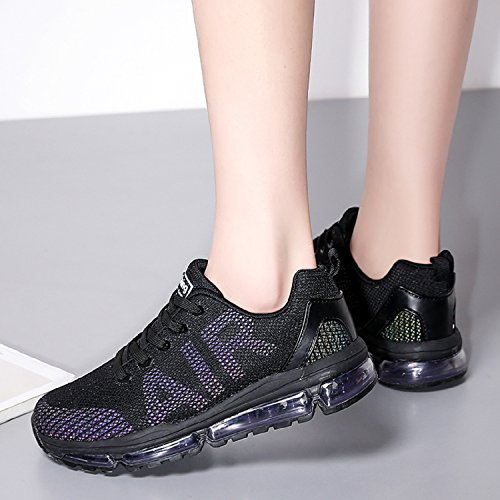 Tqgold Hommes Femmes Athlétiques Sneakers Courir Sports Gym Fitness Running Bas Sneakers Noir
