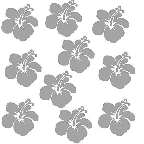 10 Aufkleber Blumen Hibiskus Wandtattoo Fenster Möbel selbstklebend VIELE FARBEN