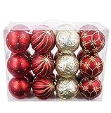 Valery Madelyn 24-tlg Luxuriöse 70mm Bruchsicher Weihnachtskugeln in Rot und Gold, inklusive 24 Metallhaken