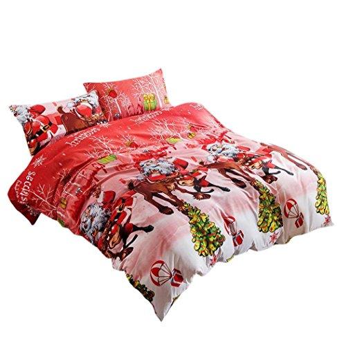 Koly La Navidad 4 PC a la hoja de cama de lino textil hogar de Navidad Juego de cama edredón de cama Fundas de almohadas,4