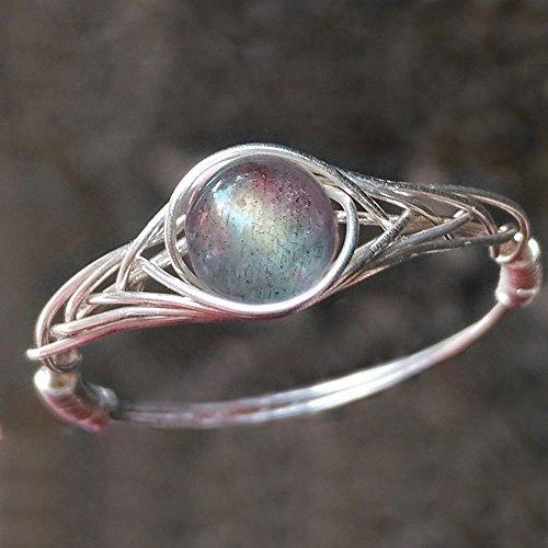 17.25 (15.75-21.25 Verfügbar) Natürliche Sonnenlicht labradorite Stein Sterling Silber String Wicklung Edelstein Handgefertigt Ring