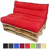 PROHEIM Palettenkissen-Set Lounge: Sitzkissen + Langes Rückenkissen Sitzpolster für Europaletten Paletten-Sofa Wasser- und Schmutzabweisend Palettenauflage mit Wave-Steppung, Farbe:Rot