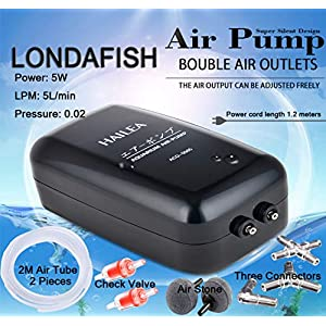 LONDAFISH Aquarium Air Pump Oxygen Pump Double Outlet Hangable Adjustable Flow Control Silent High Air Volume for Fish…
