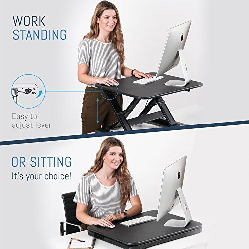 Desk Riser by Wuteku   Rising Gas Converter Adjusts to 11 Different Positions   No Assembly Required   Sits on Existing Workspace Surface   Perfect for Laptops Desktops or Dual Monitors   Warranty Inc Special