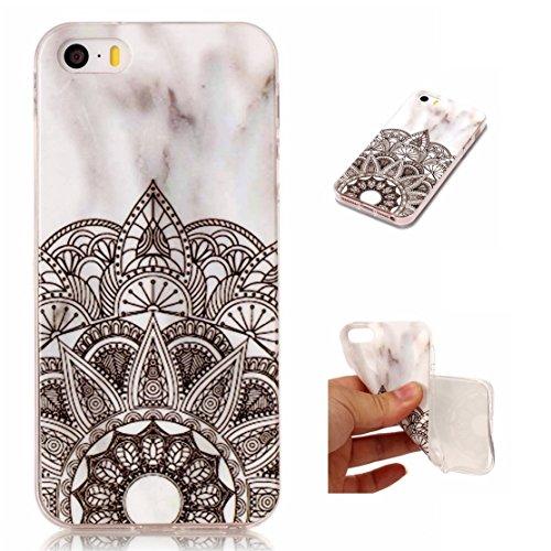 iPhone 5 Hülle, Voguecase Silikon Schutzhülle / Case / Cover / Hülle / TPU Gel Skin für Apple iPhone 5 5G 5S SE(Marmor Serie -Pink und Schwarzes) + Gratis Universal Eingabestift Marmor/Teppich