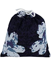 ELECTROPRIME Cotton Linen Flower Printed Outdoor Travel Storage Packing Pouch Drawstring Bag