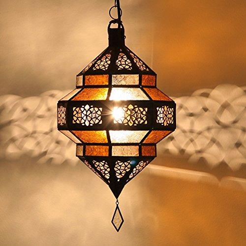 Orientalische Pendelleuchte Marokkanische Lampe | Echtes Kunsthandwerk aus Marokko wie aus 1001 Nacht | Hängelampe Leuchte Pendellampe Laterne | Hängeleuchte Maha Gelb-Weiss