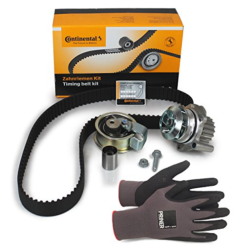 Inspektionspaket Contitech Zahnriemen-Satz CT1028K4(CT1028WP4) + Wasserpumpe + Priner Montagehandschuhe