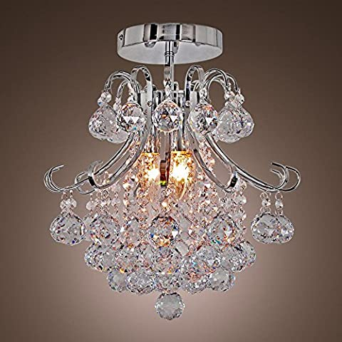 Fashion Luxury 2 Lights Hanging Light Crystal Linear Chandelier with Solid Metal Fixture, Modern Flush Mount Ceiling Light for Entry, Dining Room,
