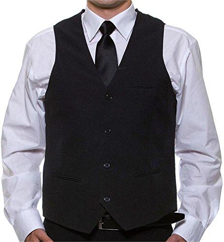 normani Unisex Weste Anzugweste Basic in Schwarz mit echten Taschen - für Hochzeit, Silvester oder Kellner Größe XL