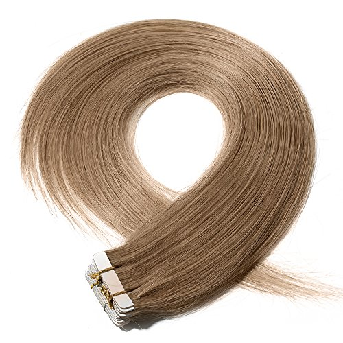 40-55cm extension biadesivo capelli veri estensioni adesive 20 fasce 50g/set 100% remy human hair - tape in hair extension allungamento (45cm #27 biondo scuro)