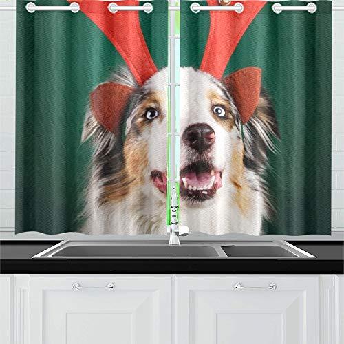 Tier Kostüm Australische - JOCHUAN Happy Christmas Dog Antlers auf grünen Küchenvorhängen Fenstervorhangebenen für Café, Bad, Wäscherei, Wohnzimmer Schlafzimmer 26 X 39 Zoll 2 Stück