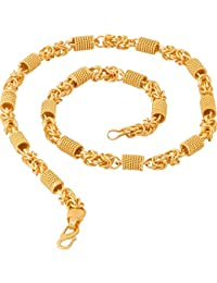 Fashion Frill Original Designer Fancy Party Wear Gold Plated Metal Neck Chain For Men