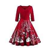 MisShow Damen 60er Jahre Retro Rockabilly Kleid Sommerkleid mit Schwan Knielang Rot S