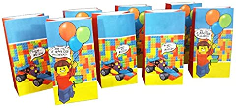Goodie and Party Favor Bags (8 pack) for Lego-Inspired Parties