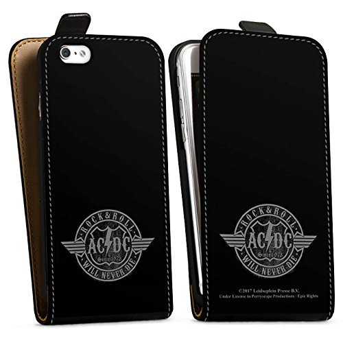 Apple iPhone 7 Plus Silikon Hülle Case Schutzhülle ACDC Rock and Roll Offizielles Lizenzprodukt Downflip Tasche schwarz