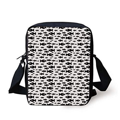 Fish,Doodle Style Cartoon Aquatic Animal Silhouettes with Giant Eyes Monochrome Design Decorative,Black White Print Kids Crossbody Messenger Bag Purse