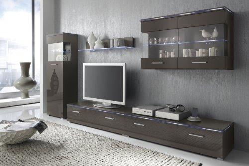 Wohnwand Anbauwand lavagrau grau, Fronten hochglanz, optional LED-Beleuchtung, Beleuchtung:ohne Beleuchtung