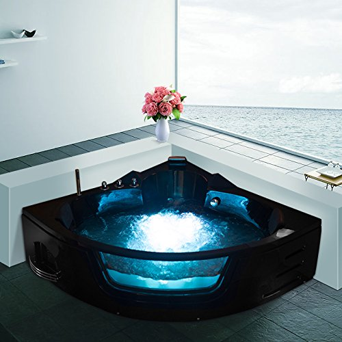 Baignoire balneo ouest-balnéo baignoire angle 140cm x 140cm x 62cm (1 LEDs 7 couleurs, 14 jets massants,...