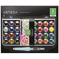 Arteza Set acuarelas clásicas, juego de 36 pastillas de colores vivos, incluye 1 pincel de agua rellenable, ideal como kit de acuarelas portátiles para adultos y niños