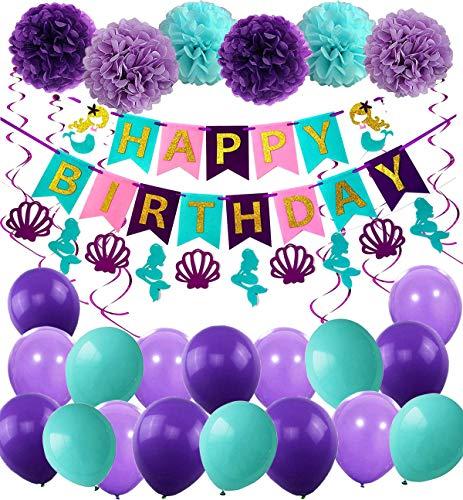 JYOHEY Geburtstag Deko Mädchen Meerjungfrau Thema Party Dekoration Happy Birthday Girlande Mit Shell Luftballons Lila und Blau für Meerjungfrau Partyzubehör