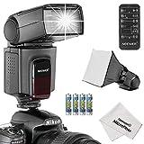 Digital Cameras Best Deals - Neewer TT560 - Kit deflash Speedlite para Canon, Nikon y cualquier cámara digital con una zapata estándar, incluye: (1) TT560flash + (1) difusor de flash + (1) control remoto + (4) pilas + (1) paño de limpieza