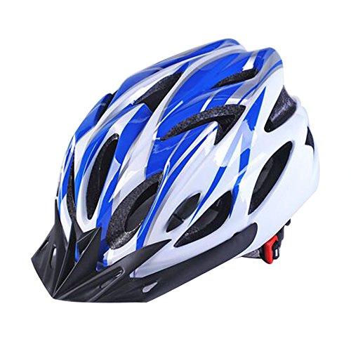 Uzexon Erwachsene Unisex Helme mit 18 Belüftungsöffnungen,Abnehmbarer Visier,Einstellbares Radsystem und Ein weicher Mesh-Liner für Fahrradhelme (Weiß&Blau)