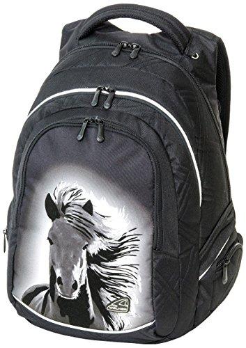 Schneiders Vienna 42101-080 Schulrucksack Fame Dream Horse, 34 Liter, schwarz, mit 3 Reißverschlussfächern