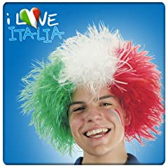 Idea Regalo - Parrucca Italia Sparata tricolore verde bianco rossa