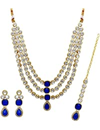 Jaipur Mart Alloy Metal Kundan Necklace With Earring & Maang Tikka For Women (KN105$P)