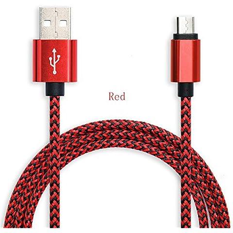 Micro USB Cable [Ultra resistente] exlene® M [3,3 pies/1 m] alta velocidad USB 2.0 un Android trenzado de nailon cargador Cables – Garantía de por vida de soldadura para smartphones Samsung Galaxy, Nexus, LG, Sony, Xiaomi, HTC, Motorola, Kindle, PS4 controlador, y más … (rojo)