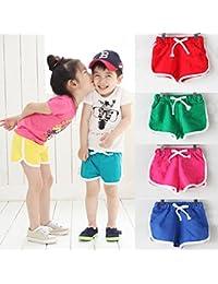 Covermason Niños Ropa Venta de liquidación Niños pequeños Bebés y niñas Pantalones cortos para niños Pantalones cortos para playa de verano de color caramelo(3T, rojo)