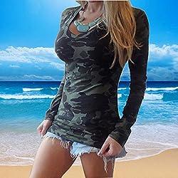 Blusas Y Camisas De Mujer 2016, Oyedens Moda de manga larga con cuello en V estampado camuflaje camiseta delgada ocasional (L)