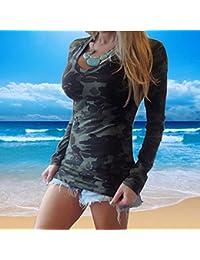 Blusas Y Camisas De Mujer 2016, Oyedens Moda de manga larga con cuello en V estampado camuflaje camiseta delgada ocasional