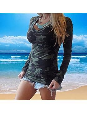 Blusas Y Camisas De Mujer 2016, Oyedens Moda de manga larga con cuello en V estampado camuflaje camiseta delgada...