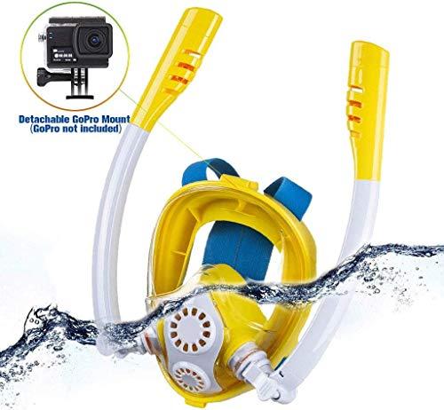 LFDHSF Masque de plongée Complet, Masque de plongée avec Support d'appareil Photo de Sport, 360 degrés;Rotation Anti-Fog Anti-Leak, pour Adultes et Enfants