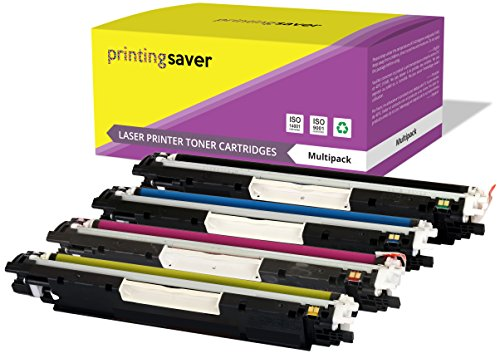 Printing Saver CE310A-CE313A (126A) Pack de 4 tóners compatibles para HP Color Laserjet Pro CP1025, CP1025NW, CP1020, 100 MFP M175A, M175NW, 200 MFP M275A, M275NW, TopShot Laserjet M275 impresoras