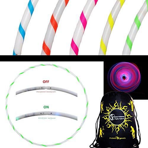 Flames N Games NEBULA Glow LED Hula Hoop Reifen mit 29 Helles Lila LEDs - Akku und Ladegerät Enthalten + Tasche! Helle Farbe LED's Für Hoop Dance und Übung Für Alle Altersgruppen - 90cm! (Grün)