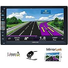 7 pulgadas 2 Din Espejo Enlace para los teléfonos Android de navegación GPS en el tablero estéreo del coche de radio HD 1024 600 pantalla capacitiva Muti-Touch Sin reproductor de DVD Bluetooth Espejo Enlace con la cámara de reserva