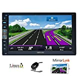 7 pouces 2 din Mirror Link pour T¨¦l¨¦phones GPS Android Navigation En Dash Car Stereo Radio HD 1024 600 capacitive d'¨¦cran tactile Sans Muti Lecteur DVD Bluetooth Mirror Lien avec cam¨¦ra de recul
