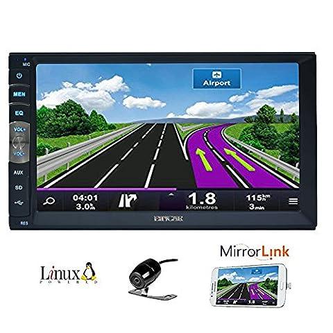 7 pouces 2 din Mirror Link pour T¨¦l¨¦phones GPS Android Navigation En Dash Car Stereo Radio HD 1024 600 capacitive d'¨¦cran tactile Sans Muti Lecteur DVD Bluetooth Mirror Lien avec cam¨¦ra de