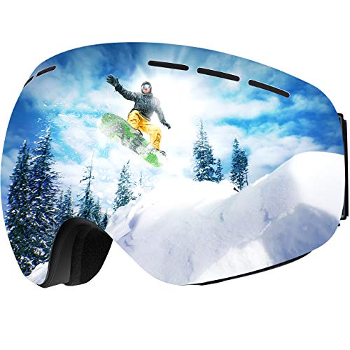 OMORC Skibrille, Doppel-Objektiv + 100% UV-Schutz Snowboardbrille mit Anti-Fog Verbesserte Belüftung Schneebrille Winddicht Ski Goggles Premium Snowboard-Schutzbrillen für Frauen Herren Jugendliche -