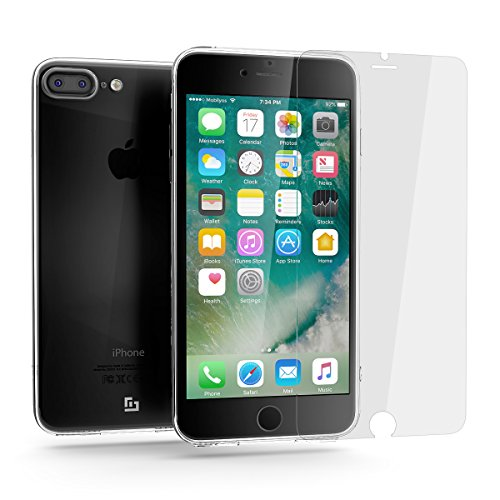 Funda iPhone 7 PLUS Transparente + Protector de Pantalla de Vidrio Templado, Mobilyos® [Ultra Clear + T-Glass] Carcasa iPhone 7 PLUS Case + Protector de Pantalla de Vidrio Templado ( 3D Touch Compatibles )