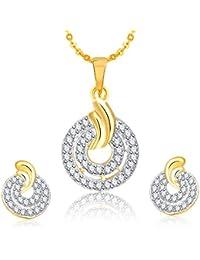 Meenaz Pendant Set For Women & Girls Earrings In American Diamond Silver Plated CzPT196