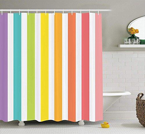 Nyngei Modernes Dekor Duschvorhang von Zirkus Thema Regenbogen farbiges Bild Fett Streifen mit leeren Hintergrundbild Stoff Badezimmer Dekor Set mit Multicolor