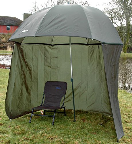 "Bison 98"" 2.5m TOP TILT Umbrella BROLLY Fishing Shelter with Zip ON Sides"