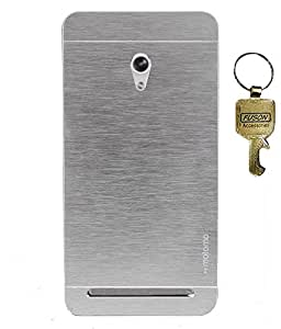 FUSON METALLIC FINISH DUAL LAYER MOTOMO HARD BACK CASE COVER FOR Asus Zenfone 6 A601CG- SILVER WITH KEY