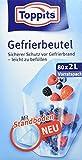 Toppits Gefrierbeutel Vorratspack, 2 Liter, Standboden, 80 Stück, Transparent
