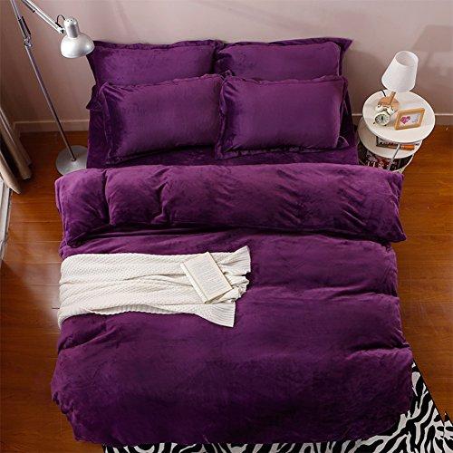 XJ&DD Coral Velvet Vier stück Bettbezüge,Winter Plus SAMT Dick Bettbezug,Plüsch Bettbezug,Bettwäsche,Kissenbezug,Bettwäsche-N 220x240cm(87x94inch)