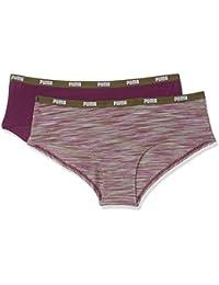 Puma Space Dye Hipster 2P Ropa Interior, Mujer, Dark Purple/Olive, S